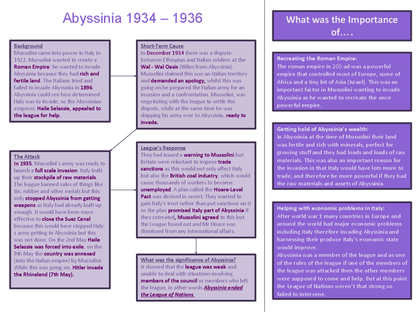 Preview of Abyssinian Crisis 1934-36