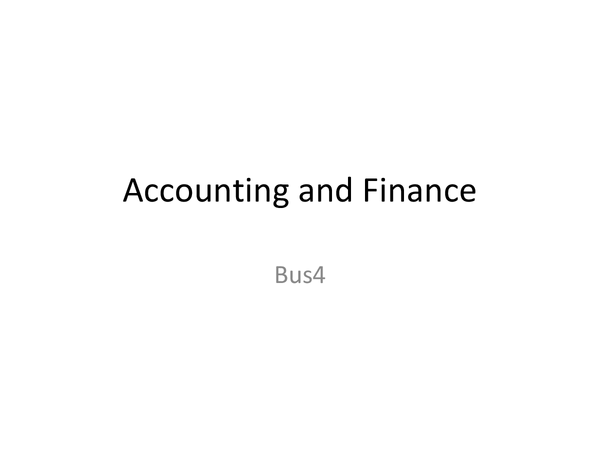 Preview of Accounting and Finance