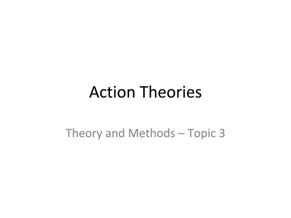 Preview of Action Theories