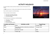 Preview of Activity Holidays