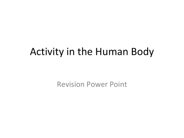 Preview of activity in the human body - as applied science