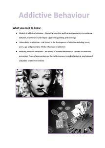 Preview of Addictive Behaviour Revision Booklet