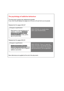 Preview of Addictive Behaviour Specification Changes