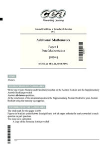 Preview of Additional Maths GCSE Past Paper 1 2012