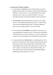 delegated legislation 2 essay We will write a custom essay sample on  delegated legislation it has  become a common practice for acts of parliaments to  statutory instruments 2.