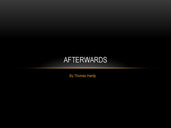 Preview of Afterwards by Thomas Hardy