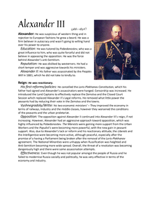 Preview of Alexander III and Nicolas II Factfile