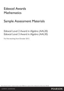 Preview of Algebra Award Sample Paper