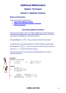 Preview of Algebraic Fractions