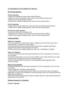 Preview of ALGORITHMS for D1 MATHEMATICS (Edexcel)