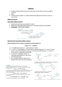 Preview of Alkenes Revision Notes