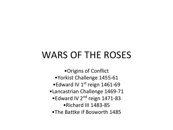 Preview of All of Wars of the Roses