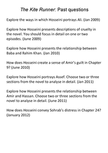 Preview of ALL Past questions on The Kite Runner