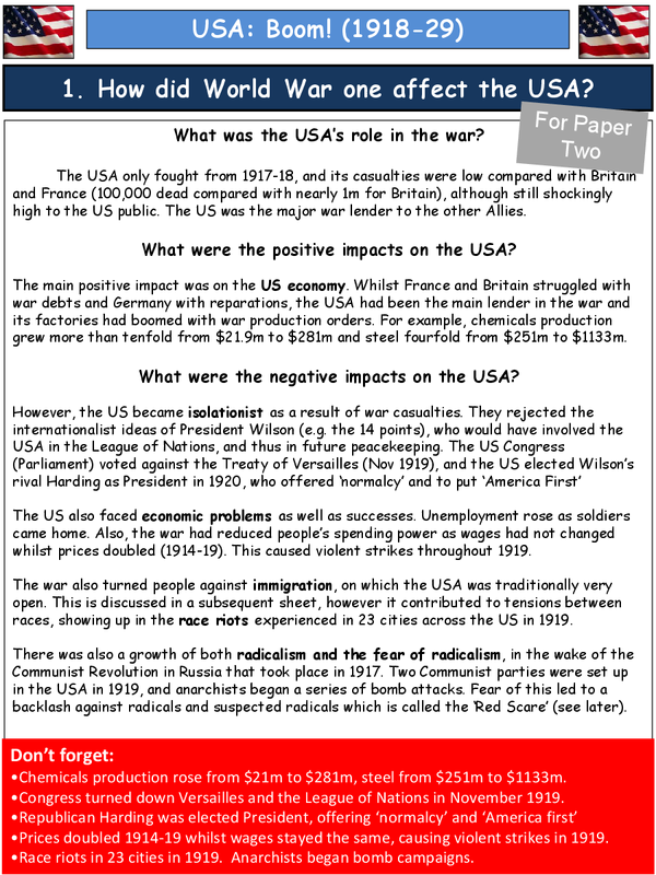 Preview of GCSE History AQA America 1918-29 Paper 2