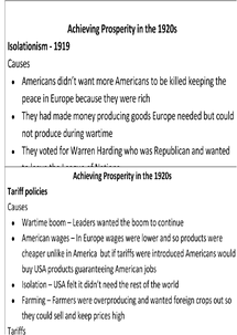 Preview of America in the 20s Revision Cards