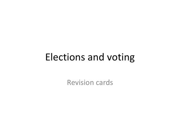 Preview of American politics unit 3c- Elections and voting revision cards
