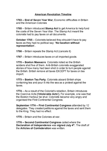 Preview of American Revolution Timeline