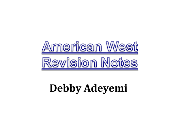 Preview of American West Revision Notes