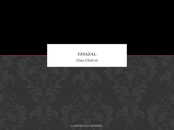 Preview of Analysis- Ghazal (poem) by Mimi Khalvati