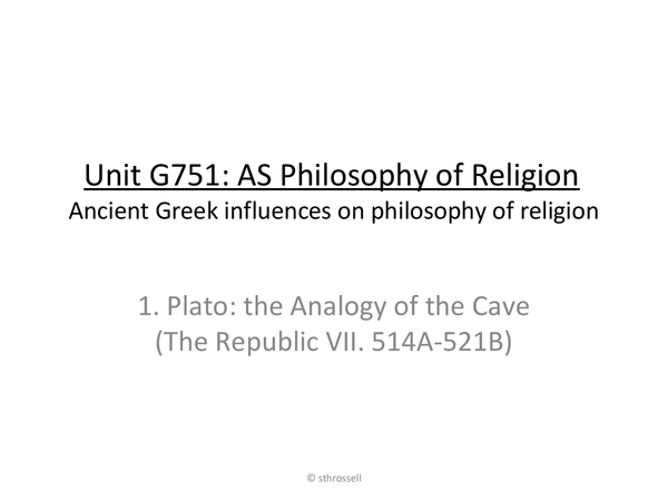 Preview of Ancient Greek influences on religious philosophy | AS Philosophy of Religion (OCR)