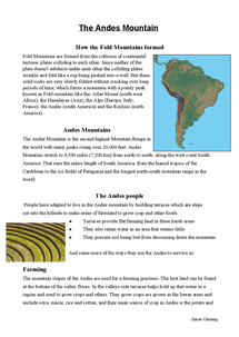 Preview of Andes mountain