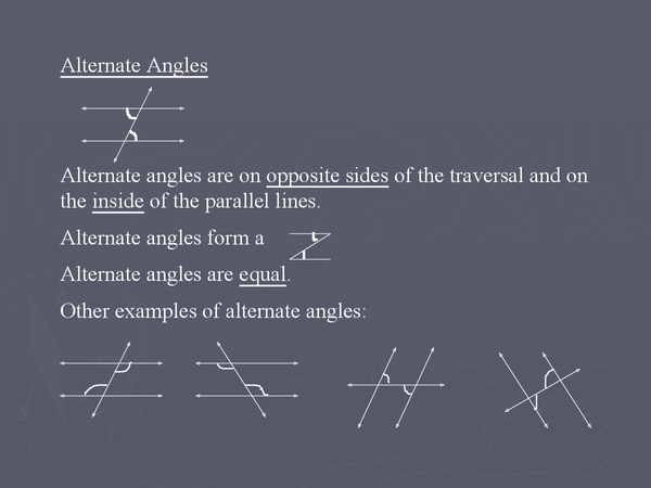 Preview of Angles - Parallel Lines