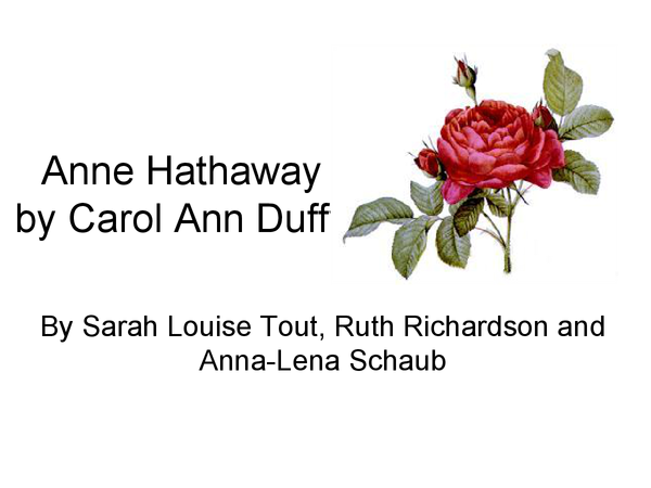 Preview of Anne Hathaway By Carol Ann Duffy