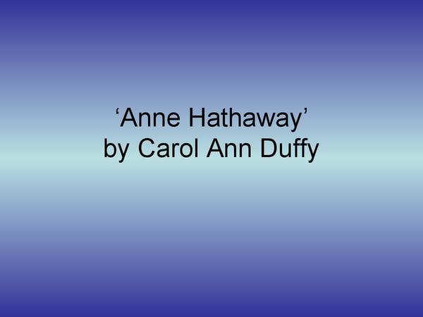 Preview of Anne Hathaway poem help