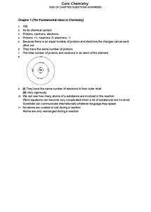 Preview of Answers for Review Questions on Core Chemistry (covers entire AQA specification)