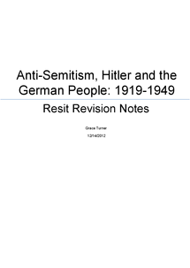 Preview of Anti - Semitism, Hitler and the German People, 1919 - 1945 (HIS2N)