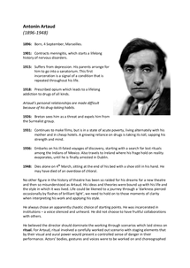 Preview of Antonin Artaud Information (including theories and influences)