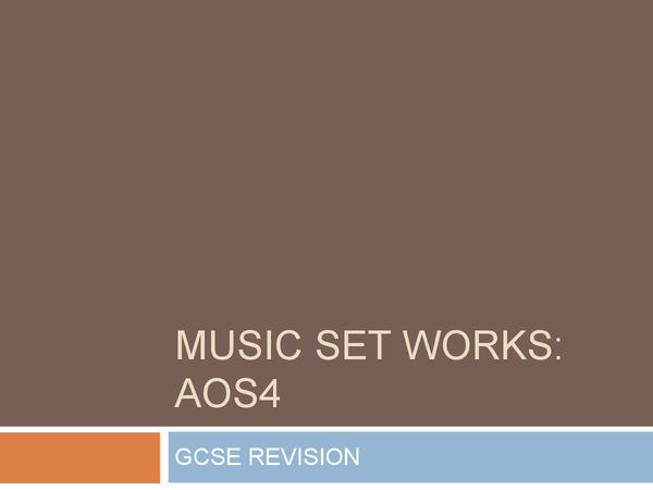 Preview of AOS4 Powerpoint for Music GCSE- Set Works