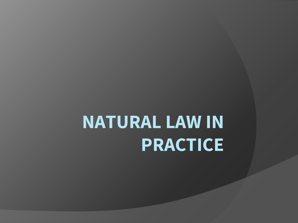 Preview of Applications of Natural Law