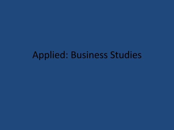 Preview of | Applied business- Unit 1 |
