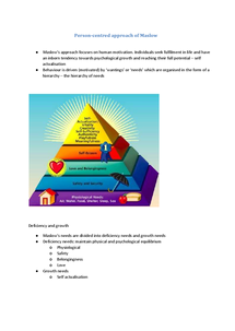 Preview of Approaches - Humanistic Perspective - Person Centred Approach of Maslow