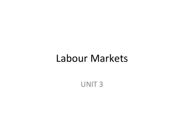 Preview of AQA Economics UNIT 3 - Labour Markets