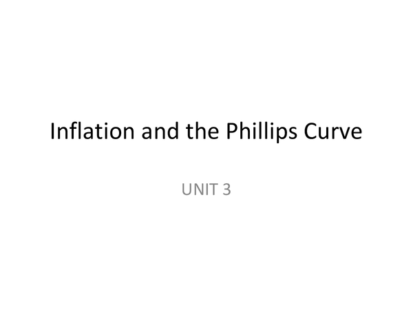Preview of AQA Economics UNIT 4 - Inflation and the Phillip's Curve