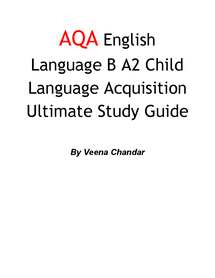 Preview of AQA English Language B Child Language Acquisition Ultimate Study Guide