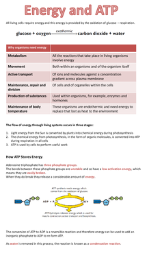 Preview of AQA A2 BIOLOGY UNIT 4: ATP
