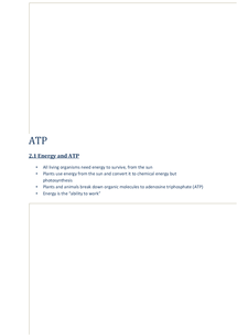Preview of AQA A2 Biology Notes ATP