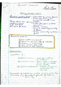 Preview of AQA A2 Biology Revision Notes - Unit 4 Succession (3.4.7)