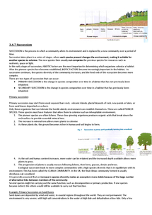 Preview of AQA A2 Biology Unit 4 3.4.7 Succession