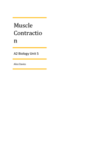 Preview of AQA A2 Biology Unit 5 - Muscle Contraction