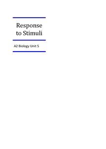 Preview of AQA A2 Biology Unit 5 - Response to Stimuli
