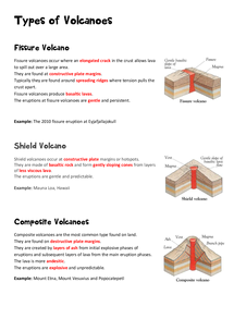 Preview of AQA A2 Geography Plate Tectonics: Types of Volcanoes