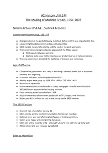 Preview of AQA A2 History Unit 3M (HIS3M) - The Making of Modern Britain, 1951-2007