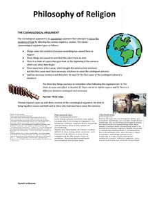 Preview of AQA A2 - The Cosmological Argument Revision Pack