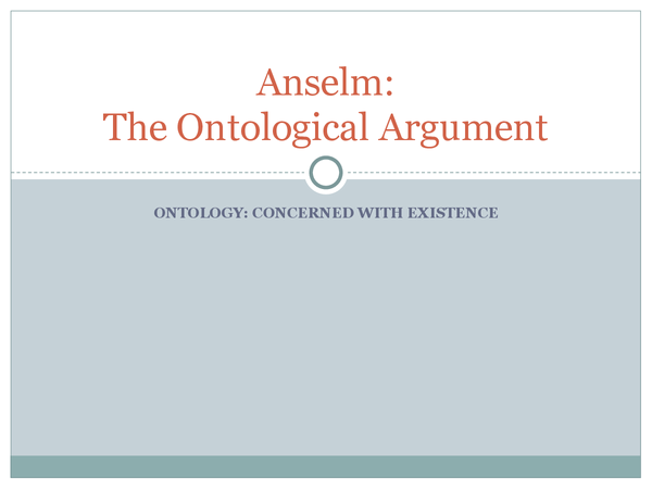 Preview of AQA A2 Unit 3B The Ontological Argument