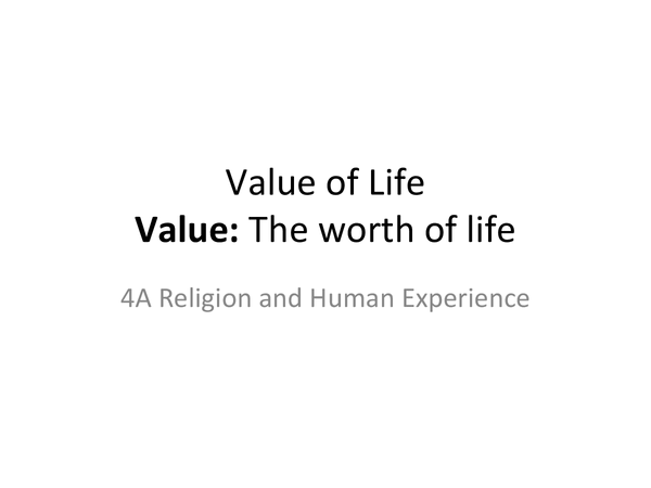 Preview of AQA A2 Unit 4A: Religious and Secular Value of Life