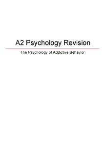 Preview of AQA Addiction Revision Guide